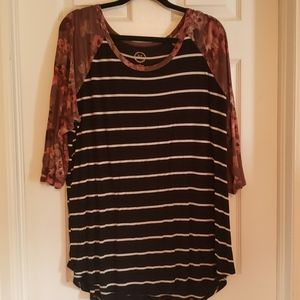 Striped and floral tunic